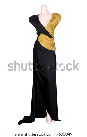 Evening dress on a dummy isolated on a white background - stock photo