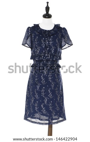 Evening dress on a dummy isolated on white background - stock photo