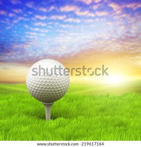 Evening golf - stock photo