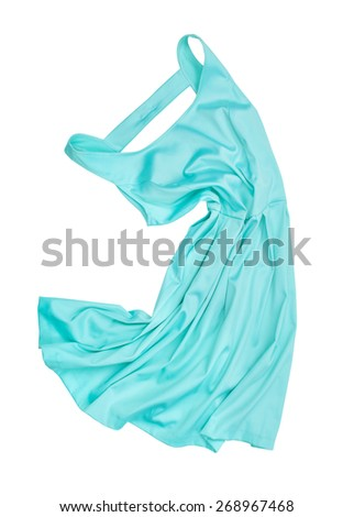 evening gown of blue satin in the air on a white background