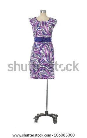 evening gown on female mannequin on a white background