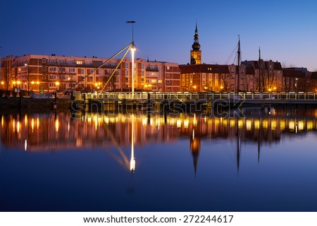 Evening harbour on the river Ryck, West Pomerania. Greifswald