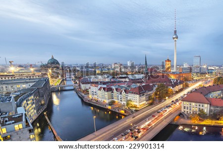 Evening in Berlin, aerial view (TV tower, river Spree, cathedral) - stock photo