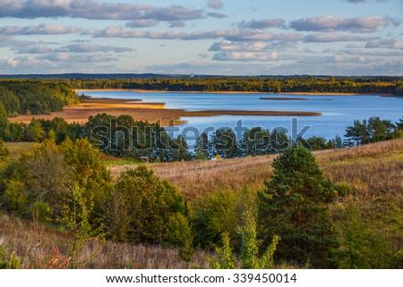 Evening in Braslau lakes national park, Belarus - stock photo