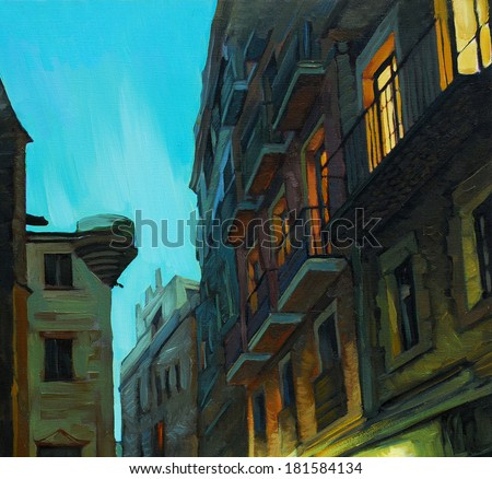 evening in gothic quarter of barcelona, painting,  illustration - stock photo