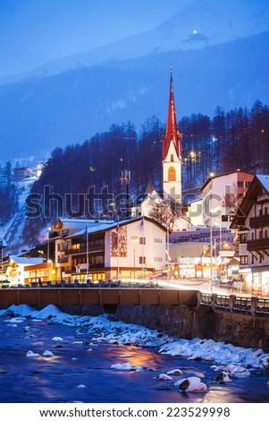 Evening in Solden, Tyrol, Austria - stock photo