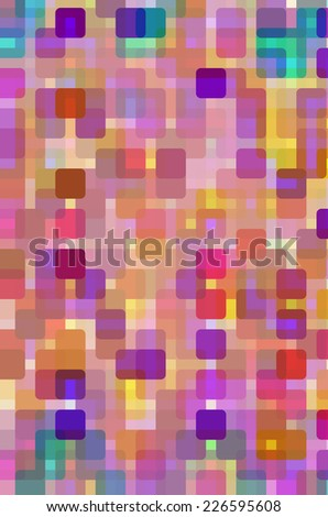 Evening in the city: Abstract mosaic of uniform squares with rounded corners overlapping for illusion of three dimensions, with warm colors like those of sunset and its afterglow - stock photo