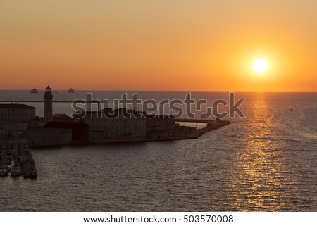 Evening in the port of Trieste, Friuli-Venezia Giulia, Italy