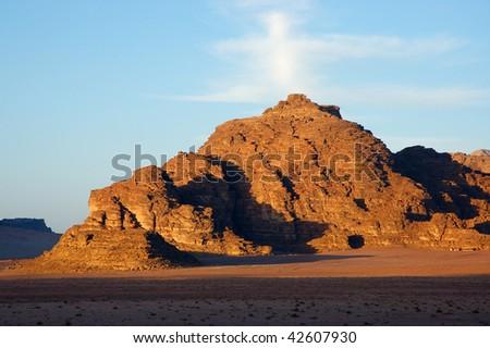 Evening in Wadi Rum, 5:30 p.m. - stock photo