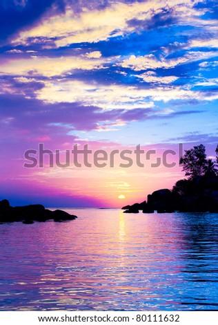 Evening Island Nightfall - stock photo