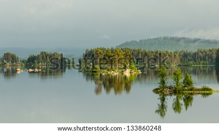 Evening Lake in Sweden - stock photo