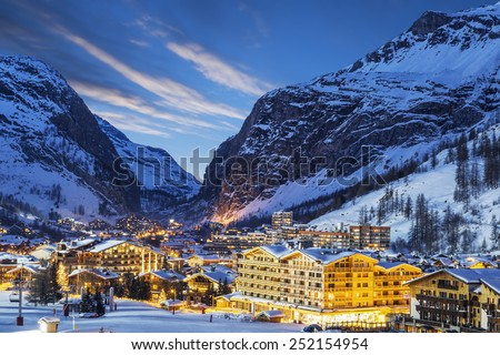 Evening landscape and ski resort in French Alps, Val d'Isere, France  - stock photo