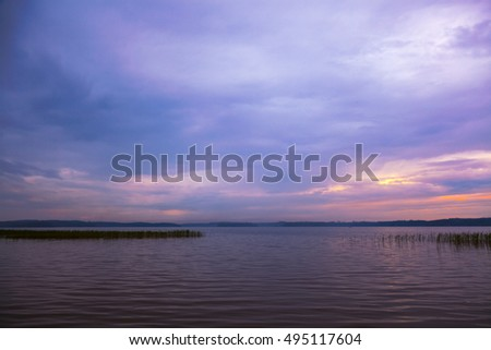 Evening landscape at the lake