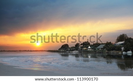 evening landscape at the lake with sunset - stock photo