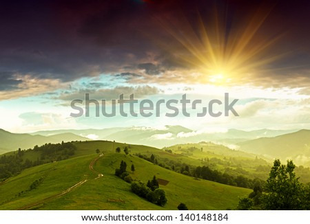Evening landscape in the mountains
