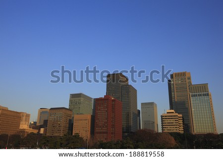 Evening landscape of a building group in Marunouchi