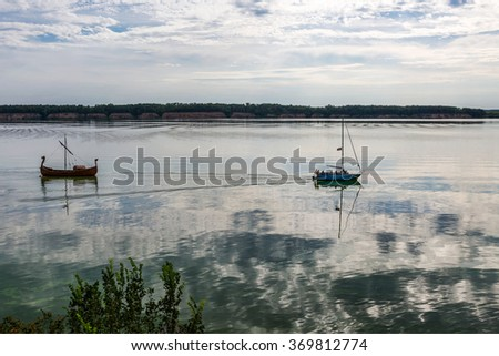 Evening landscape on the river Usa, tributary of the Volga.
