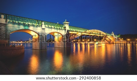 evening landscape with covered bridge Andreevsky in Moscow, Russia. instagram image filter retro style - stock photo