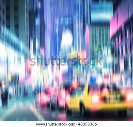 Evening life at Manhattan, New York, in motion blur and strange colors. Lots of copyspace. - stock photo