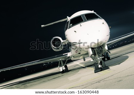 evening light aircraft - stock photo