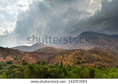 Evening light in Moroccan mountain landscape - stock photo