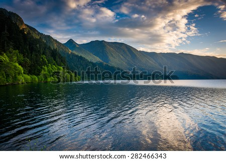 Evening light on Lake Crescent and mountains in Olympic National Park, Washington.