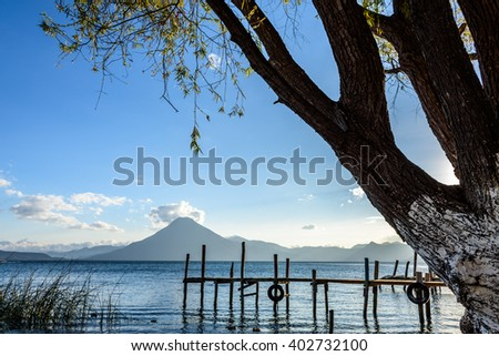 Evening light on San Pedro volcano at Lake Atitlan, Guatemala - stock photo