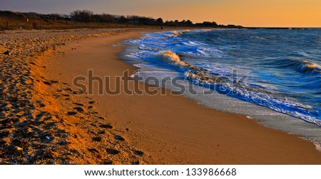 Evening light on Sunset Beach, Cape May, New Jersey - stock photo