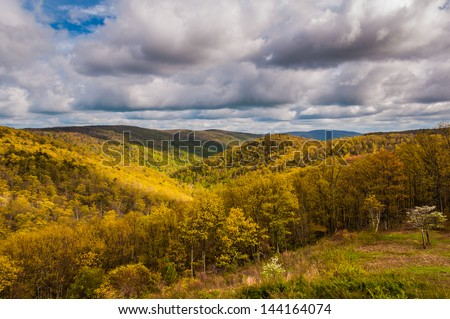Evening light on the Blue Ridge Mountains seen from Skyline Drive in Shenandoah National Park, Virginia. - stock photo