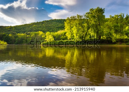 Evening light on the Delaware River at Delaware Water Gap National Recreational Area, New Jersey. - stock photo