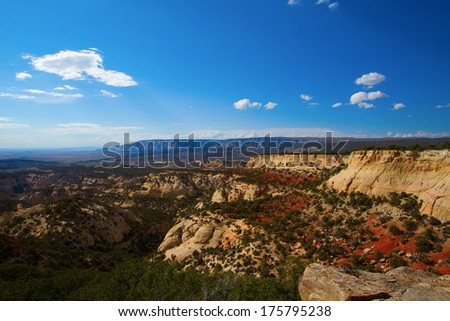 Evening light on the dramatic rock formations at Dinosaur National Monument - stock photo