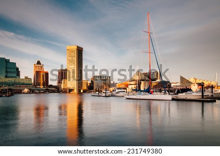Evening light on the Inner Harbor, Baltimore, Maryland - stock photo