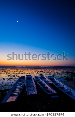 Evening light on the lake - stock photo