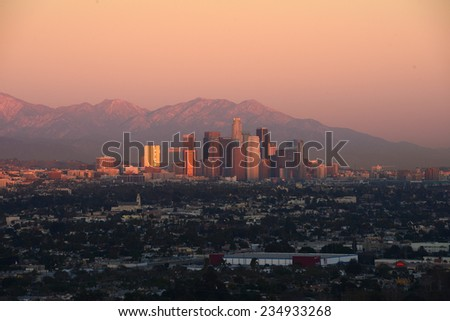 evening light with downtown  in California