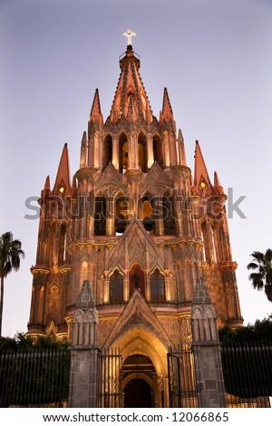 Evening Lights Parroquia Archangel Church San Miguel de Allende, Mexico - stock photo