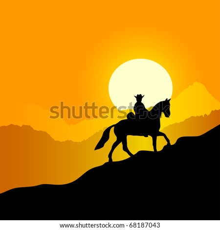 Evening mountain landscape. The lonely horseman against a sunset in mountains.Rider on a walk. EPS version is available as ID 69964393. - stock photo