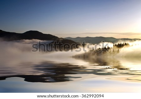 evening mountain plateau landscape (Carpathian, Ukraine)  - stock photo