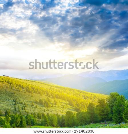 evening mountain scene - stock photo