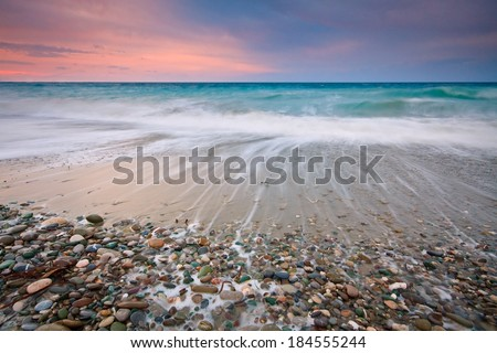 Evening on a Diaskari beach in south eastern Crete. - stock photo
