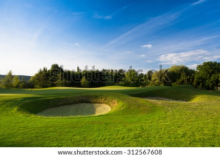 Evening on a empty golf course - stock photo