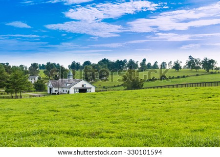 Evening on countryside. Green pastures of horse farms. - stock photo