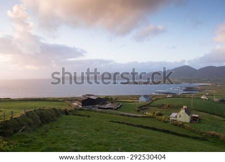 Evening on the Beara peninsula, ireland - stock photo