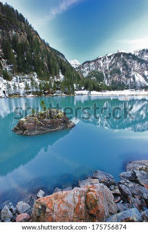 evening on the lake coast - stock photo