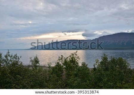 Evening on the lake. Northern shore of the lake, located on the Putorana plateau.