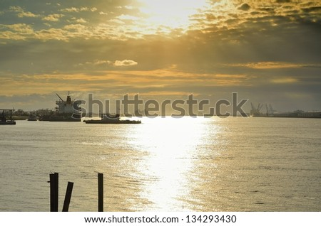 Evening on the Mississippi - stock photo