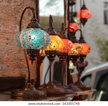 Evening on the streets of Antalya. Colorful Turkish lamps - stock photo