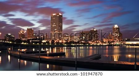 Evening Panorama of Milwaukee, Wisconsin - stock photo