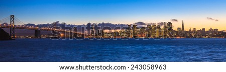 Evening panorama of San Francisco and Bay Bridge taken from Treasure Island.