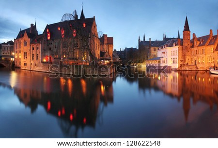 Evening panorama of some of the famous icons from Brugge (Bruges) city, Belgium