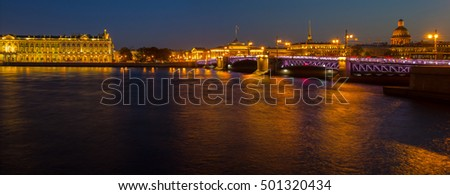 evening panorama of St. Petersburg, the Hermitage, Russia